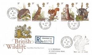1977 British Wildlife, Registered Post Office FDC, Squirrels Heath Romford Essex cds