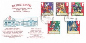 1992 Gilbert & Sullivan, Official Historic Relics Penzance Citadel FDC, The Salvation Army Penzance Cornwall H/S