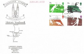 1977 Racket Sports, Landseer Stamps Historic Southwell FDC, Nottingham FDI