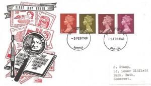 1968 ½d, 1d, 2d, 6d QEII Machine Definitive issue. Philart Stamp Collector FDC. Bristol FDI