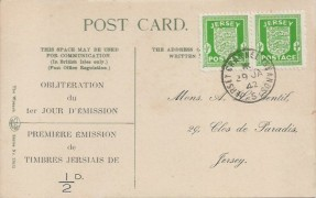 1942 ½d Jersey Arms Pair, First Day of Issue in French Display Postcard,  Jersey Channel Islands 5 cds