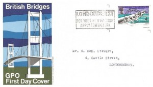 1968 British Bridges, Set of 4 GPO FDC's. Londonderry For Your New Factory Apply Town Clerk Slogan