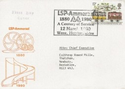 1980 Liverpool & Manchester Railway, LSP Ammeraal Official FDC,12p single stamp only. LSP-Ammeraal a Centenary of Service Ware Hertfordshire H/S