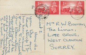 1948 Channel Island Liberation, Post card of Pleinmont Point Guernsey FDC, Pair of 1d stamps only. St.Peter Port Guernsey Ch.Is.cds