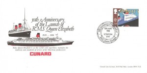 1988 Transport & Communications, Arlington Official FDC, 26p By boat stamp only, 50th Anniversary of the Launch of RMS Queen Elizabeth London SW1 H/S