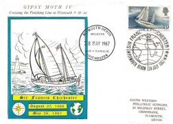 1967 Sir Francis Chichester, South Western Philatelic Supplies Card FDC, Sir Francis Chichester Plymouth Devon H/S