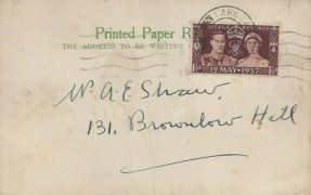 1937 King George VI Coronation, A E Shaw Booksellers Commercial Postcard FDC, Lark Lane Liverpool cds