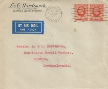 1935 King George V 2d Orange Pair, L & C Hardtmuth Envelope FDC, London FS Air Mail Cancel