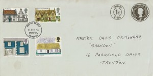 1970 Rural Architecture, 4d Up Rated to 5d Postal Stationery FDC, Taunton Somerset FDI