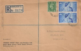 "1948 King George VI Silver Wedding. Registered ""Forty Four"" Publishers and Printers Ltd Envelope FDC, 2½d pair of stamps only Henderson Row Edinburgh cds"