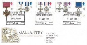 1990 Gallantry, Royal Mail FDC, History of the Royal Navy Series Plymouth Devon H/S