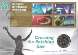 2012 Welcome to 2012 Olympics Miniature Sheet, Royal Mail/Mint £5 Coin Official Cover, Countdown to London 2012 Games of the XXX Olympics Stratford E20 H/S
