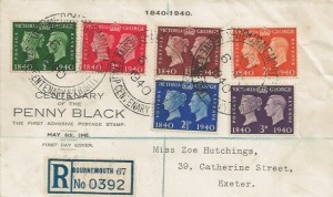 1940 Postage Stamp Centenary, Registered Display FDC, Adhesive Stamp Exhibition Bournemouth H/S