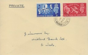 1951 Festival of Britain, Midland Bank Limited Envelope FDC, St. Neots cds