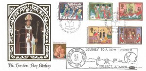 1986 Christmas, Benham BLSCS18b Official FDC, Christmas Hereford H/S + Doubled with 1991 USA Christmas stamp, Journey to a New Frontier Collect Stamps Westland MI Phil.Boutique H/S