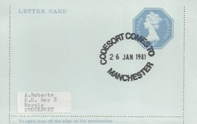 1981 QEII Postal Stationery 14p Letter Card FDC, Codesort Comes to Manchester H/S