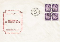 1965, 2/- Christmas Booklet, 4 x 3d Pane on Display FDC, Hythe Southampton cds.