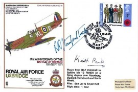 1971 31st Anniversary of the Battle of Britain RAF Uxbridge Commemorative Cover, Battle of Britain 31st Anniversary British Force 1172 Postal Service H/S, Signed by Bob Stanford-Tuck & Air Chief Marshal Keith Park