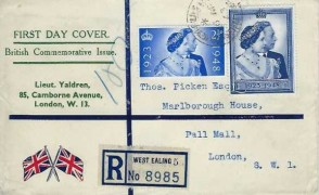 1948 Silver Wedding, Registered Illustrated FDC, Northfield Avenue West Ealing cds
