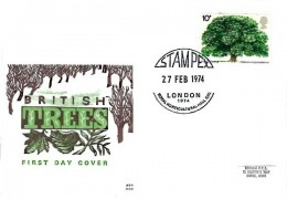1974 Horse Chestnut Tree, Benham Engraved FDC, Stampex 1974 Royal Horticultural Hall London SW1 H/S
