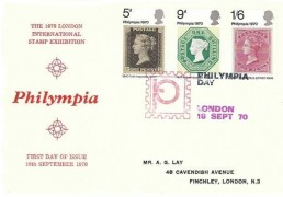 1970 Philympia, Illustrated Red FDC, Philympia Day London H/S