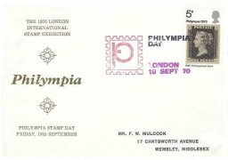 1970 Philympia, Illustrated Brown FDC, 5d Penny Black stamp only,Philympia Day London H/S