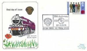 1971 General Anniversaries, Arlington British Legion FDC, 3p British Legion stamp only, 50th Anniversary 1921 -1971 British Legion British Forces 1182 Postal Service H/S