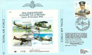 1986 Royal Air Force, RAF FDC, 17p Lord Dowding Hurricane stamp only 46th Anniversary of the Battle of Britain British Forces 2123 Postal Service H/S
