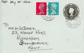 1969 QEII 4d Red & 8d Turquoise Definitive Issue on 4d Postal Stationery Envelope FDC, Sheerness Kent cds