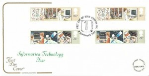 1982 Information Technology, Cotswold FDC, Gutter pairs, First Day of Issue London WC H/S