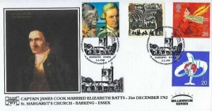 1999 Travellers' Tale, Havering Club 150 No.2 Official Captain James Cook Official FDC, Captain James Cook Married Elizabeth Batts 21st December 1762 St.Margaret's Church Barking Essex H/S