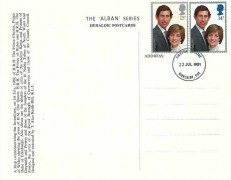 1981 Royal Wedding, Alban Series Heraldic Postcard, Kirkcaldy Fife FDI