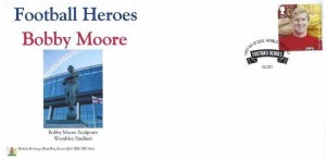2013 Football Heroes, British Heritage Bobby Moore FDC, 1st Class Bobby Moore stamp only, First Day of Issue Wembley Middlesex H/S
