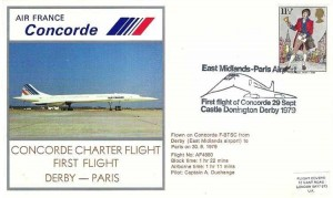 1979 Air France Concorde Cover, Concorde First Charter Flight Derby - Paris, East Midlands Airport First Flight of Concorde Castle Donington Derby H/S