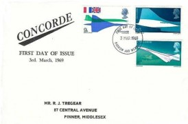 1969 Concorde, Illustrated R J Tregear FDC, Harrow & Wembley FDI