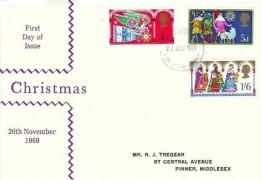 1969 Christmas, Illustrated R J Tregear  Purple FDC, Harrow & Wembley FDI