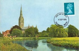 1974 QEII 6½p Blue Machin Definitive Issue, Cotman Salisbury Cathedral Postcard, Salisbury Wilts. FDI