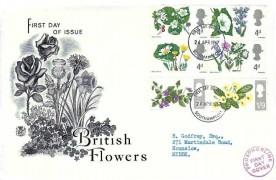 1967 Wild Flowers, Stuart FDC, Southampton FDI, Red Phosphor line Cachet
