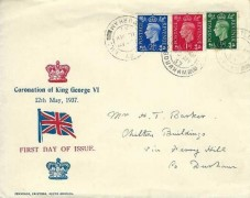 1937 King George VI ½d, 1d, 2½d Definitive Issue, Large Version of the Jennings Printers South Shields FDC, Wheatley Hill Durham cds, Duke of Windsor Coronation Label on rear flap