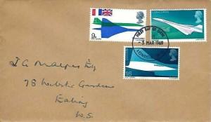 1969 Concorde, Caledonian Insurance Company Envelope FDC, London WC FDI