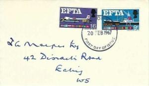 1967 European Tree Trade Area EFTA, Guardian Assurance Group Envelope FDC, London WC FDI