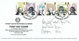 2007 Abolition of Slavery, Rotary Club of Battersea & Clapham FDC, Bicentenary Abolition of the Slave Trade Parliament Square London SW1 H/S