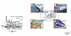1988 Transport & Communications, British Rail Official FDC, Sheffield & Rotherham Railway 1838 - 1988 Sheffield H/S