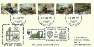 1985 Famous Trains, Talyllyn Railway FDC, Aberystwyth Dyfed FDI