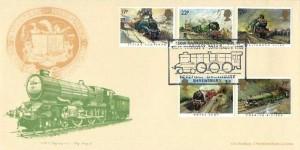 1985 Famous Trains, Bradbury FDC, 150th Anniversary of GWR King George V Hereford Shrewsbury H/S