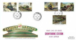 1985 Famous Trains, Royal Mail FDC, Crowthorne Station Crowthorne Berks.cds