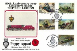 1985 Famous Trains, British Legion Poppy Appeal Official FDC, Railway Locomotives British Legion Maidstone Kent H/S