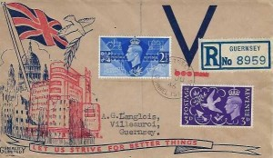 1946 Victory, Registered Geniality Limited FDC, Guernsey Channel Islands cds