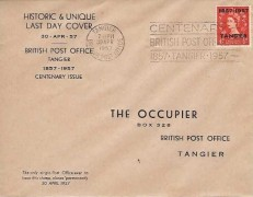 1957 Last Day Cover of British Post Office Tangier, ½d QEII Wilding Overprinted 1857 - 1957 Tangier, Centenary British Post Office 1857 Tangier 1957 BPO Tangier Slogan