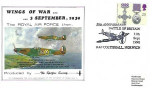 1990 Gallantry, Wings of War Spitfire Society FDC, 20p Distinguished Flying Cross Medal stamp only, 50th Anniversary Battle of Britain RAF Coltishall Norwich H/S